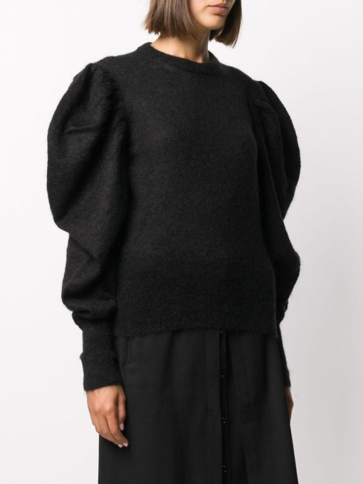 RUCHED SHOULDER JUMPER BLACK