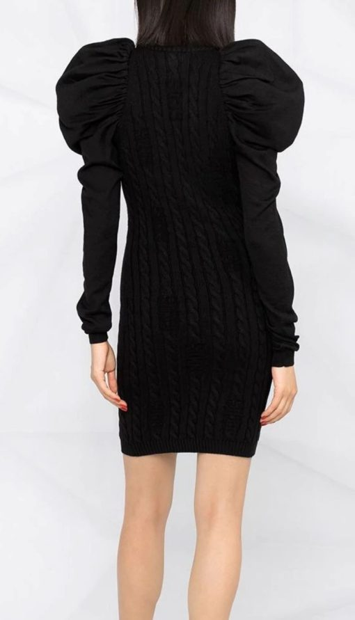 puff-shoulder mini dress