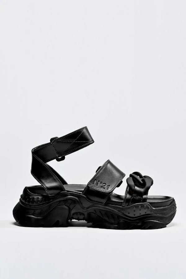 N21 Chunky Chain Detail Sandals black