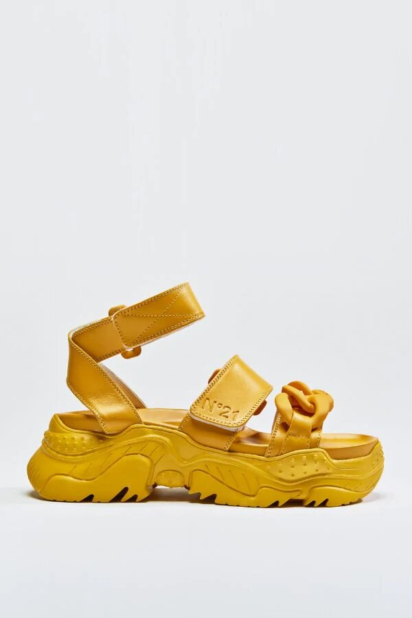 N21 Chunky Chain Detail Sandals yellow