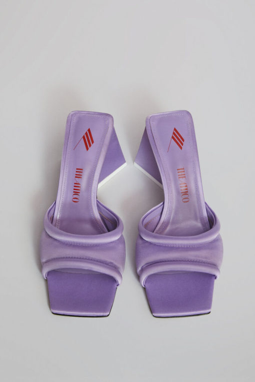 The Attico Devon Lilac Satin Mules