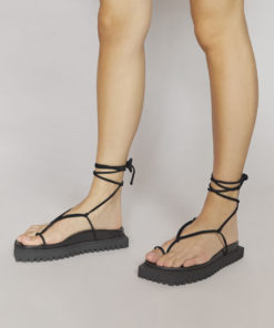The Attico Renée black suede flat sandals