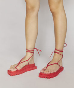 The Attico Renée red suede flat sandals
