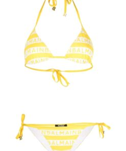 BALMAIN Iconic Stripes Triangle Bikini Yellow