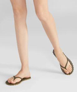 CARLOTHA RAY Doily Flip Flops Olive