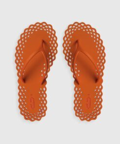 CARLOTHA RAY Doily Flip Flops Orange