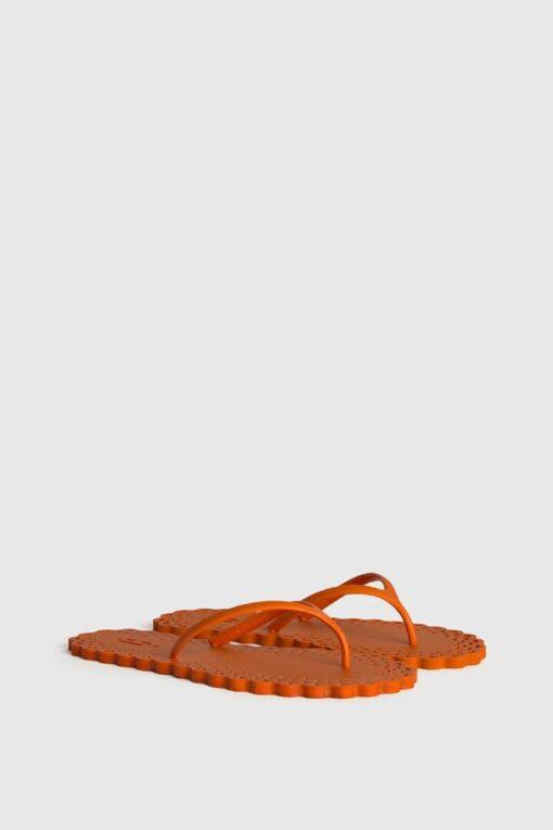 CARLOTHA RAY Doily Flip Flops Orange