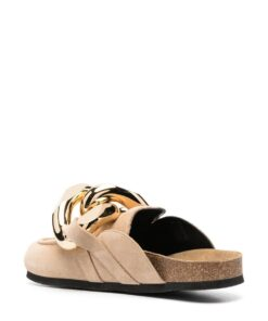 JW Anderson Beige Suede Chain Loafers