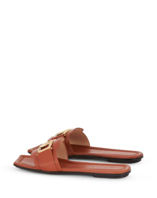 Lanvin Leather Swan Brown Mules
