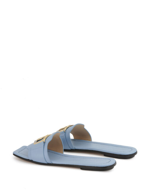 Lanvin Leather Swan Light Blue Mules