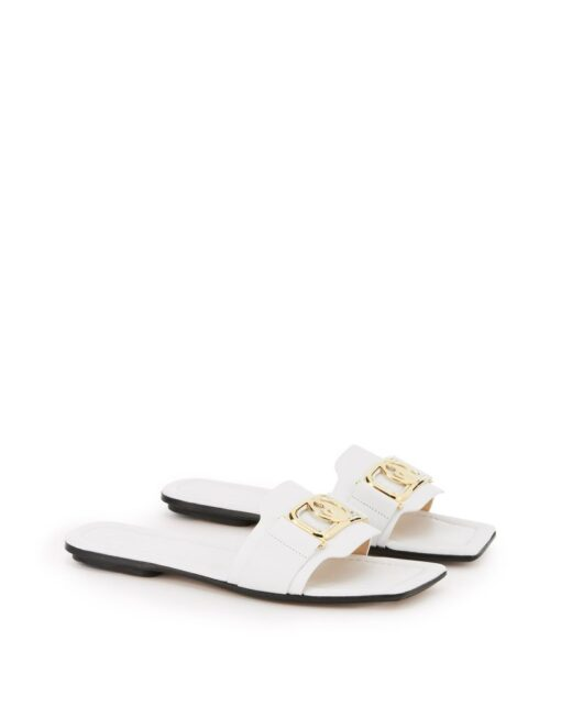 Lanvin Leather Swan White Mules