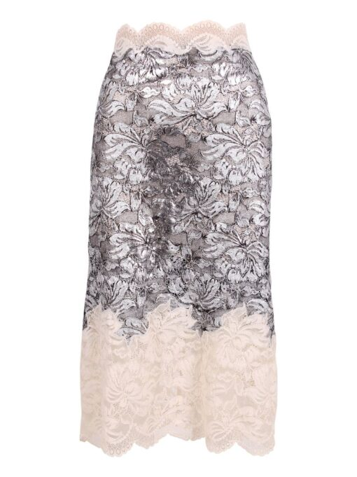 Paco Rabanne High Rise Floral Lace Skirt