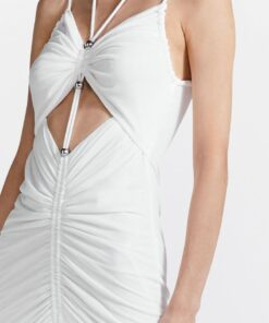Dion Lee Gathered butterfly dress ivory