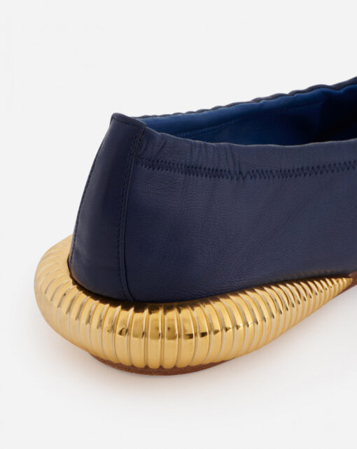 LANVIN Leather Bumpr Ballerinas Navy blue