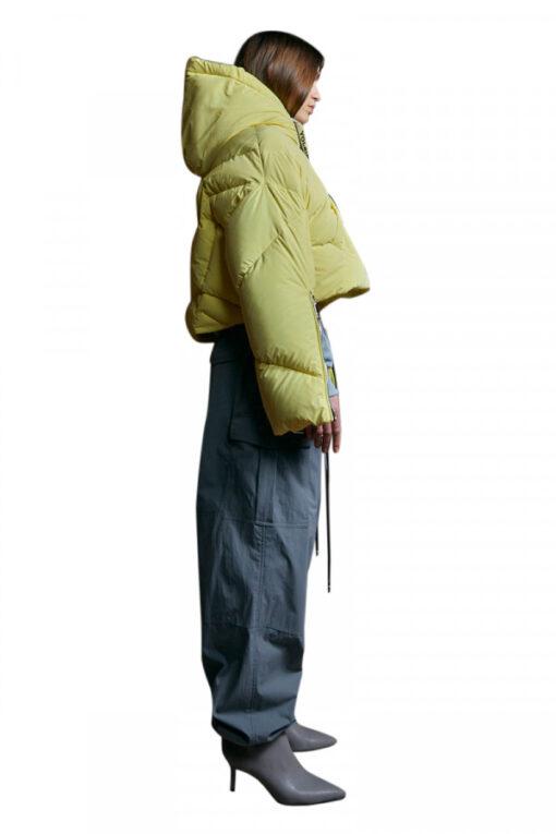 KHRISJOY puff reflective cropped jacket yellow