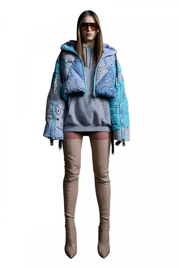 KHRISJOY Puff Bandana cropped jacket blue